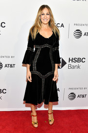 Sarah Jessica Parker cut a chic figure in a grommeted velvet LBD by Dolce & Gabbana at the Tribeca Film Festival screening of 'Blue Night.'