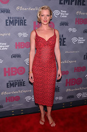 Gretchen Mol oozed an ultra-feminine vibe in a red lace cocktail dress with a sweetheart neckline during the 'Boardwalk Empire' season four premiere.