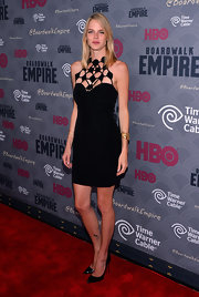 Shannan Click turned plenty of heads in a sexy little black dress with a geometric neckline during the 'Boardwalk Empire' season four premiere.