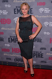 Patricia Arquette looked very classy in a sheer-panel blue sheath at the premiere of 'Boardwalk Empire' season four.