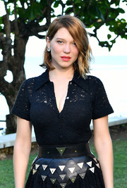 Lea Seydoux rocked a statement leather belt with metal detailing at the 'Bond 25' film launch.