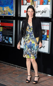 Posing outside the 'Boogie Woogie' Gala Screening  in London, Mary McCartney paired her casual-cool bomber jacket with a pretty print dress and platform sandals.