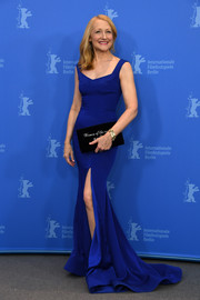 Patricia Clarkson looked fabulous in a royal-blue fishtail gown with a high front slit at the Berlinale photocall for 'The Bookshop.'