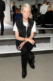 Kate Lanphear pulled her edgy look together with a pair of black ankle boots.