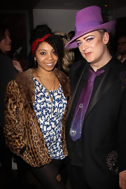 Never the wallflower, Boy George wore this bright purple fedora to the launch of his new book.
