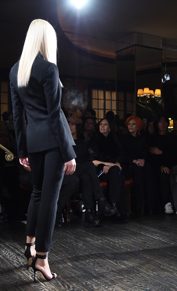 More Pics of Lady Gaga Jumpsuit (1 of 14) - Suits Lookbook - StyleBistro [v,clothing,fashion,footwear,leg,street fashion,dress,suit,trousers,outerwear,shoe,inez van lamsweerde,brandon maxwell a,editor-in-chief,model,stephen gan,front row,l-r,runway,new york fashion week]