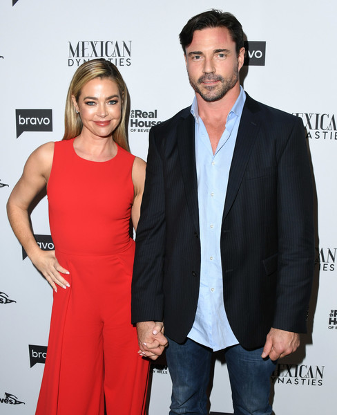 More Pics of Denise Richards Jumpsuit (1 of 9) - Suits Lookbook - StyleBistro [the real housewives of beverly hills,season,premiere,event,suit,dress,formal wear,white-collar worker,carpet,cocktail dress,tuxedo,arrivals,aaron phypers,denise richards,gracias madre,west hollywood,bravo,premiere party,mexican dynasties]