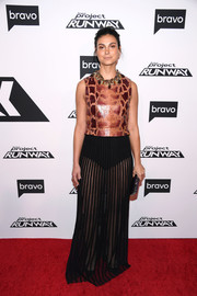 Morena Baccarin looked edgy in an animal-print top by Givenchy at the 'Project Runway' New York premiere.