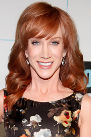Kathy Griffin wore her silky tresses in long shiny curls with softly side-swept bangs at Bravo Upfront 2012