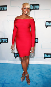 NeNe Leakes arrived at Bravo Upfront 2012 wearing a dramatic pair of strappy metallic sandals featuring silver spikes.