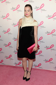 Hailee Steinfeld donned an ultra-modern black Erdem dress with asymmetrical nude yoke detail for the Hot Pink Party.