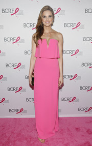 Amy France looked darling at the Pink Carpet Party in a strapless gown with a layered bodice.
