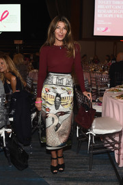 Nina Garcia kept it relaxed up top in a maroon crewneck sweater at the Breast Cancer Research Foundation New York Symposium.