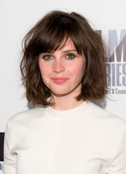 Felicity Jones sported a messy yet cute short 'do during the 'Breathe In' screening.