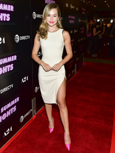 Brec Bassinger Evening Pumps [hot summer nights,clothing,red carpet,dress,cocktail dress,carpet,shoulder,premiere,fashion model,fashion,flooring,red carpet,brec bassinger,los angeles,california,pacific theatres,the grove,a24,screening,screening]