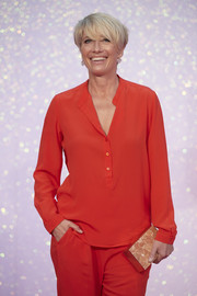 Emma Thompson attended the world premiere of 'Bridget Jones's Baby' wearing a red tunic and matching pants.