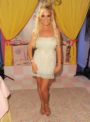 Bridget showed off her soft mint green baby doll dress while making a promotional appearance.