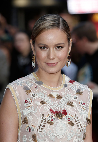 Brie Larson Etched Earrings [hair,hairstyle,eyebrow,beauty,skin,lip,fashion,chin,shoulder,fashion model,brie larson,room,london,england,vue leicester square,red carpet,bfi london film festival,screening]