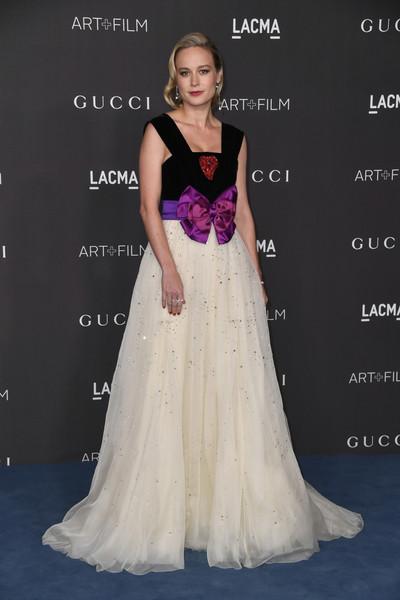Brie Larson Princess Gown [gown,dress,clothing,bridal party dress,fashion model,shoulder,formal wear,fashion,a-line,haute couture,arrivals,brie larson,gucci arrivals,los angeles,california,gucci,lacma art film gala,lacma 2019 art film gala]
