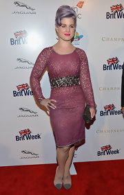Kelly Osbourne stepped out to BritWeek in glittery taupe and gray pumps.