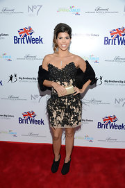 Branca Ferrazo wore an embellished nude and black strapless dress to the BritWeek Celebrates Downton Abbey event.