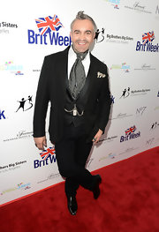 Martyn Lawrence-Bullard was a style standout in a black tuxedo paired with a patterned gray ascot at the BritWeek Celebrates Downton Abbey event.
