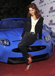 Anna Trebunskaya arrived at the launch of BritWeek 2012 wearing a pair of red suede pumps embellished with silver spikes.