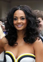 Alesha Dixon wore her hair in long voluminous curls at the London auditions for 'Britain's Got Talent.'