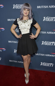 Kelly Osbourne was '60s-chic in a black-and-white mini dress with an appliqued bodice during the British Airways and Variety event.