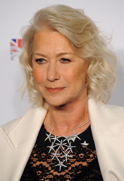 More Pics of Helen Mirren Curled Out Bob (1 of 9) - Helen Mirren Lookbook - StyleBistro [hair,face,blond,hairstyle,chin,lady,lip,long hair,wrinkle,feathered hair,helen mirren,british comedy awards,london,england,fountain studios]