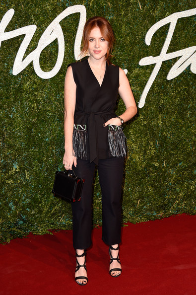 Angela Scanlon topped off her all-black ensemble with a small leather briefcase.