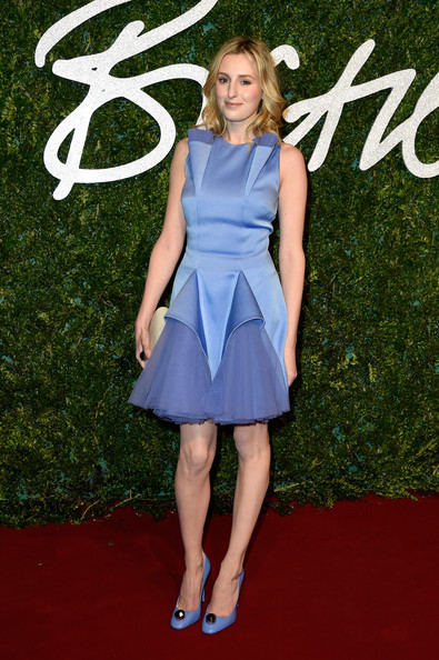 Laura Carmichael matched her dress with embellished pumps in the exact same hue.