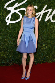 Laura Carmichael chose a frothy blue cocktail dress by Christopher Kane for the British Fashion Awards.