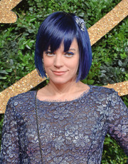 Lily Allen looked cool at the British Fashion Awards wearing this blue bob.