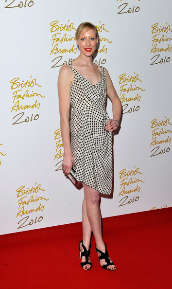 Jade Parfitt looked ladylike in a black and white geometric print dress at the 2010 British Fashion Awards.