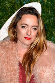 Alice Temperley attended the British Fashion Awards wearing a casual layered 'do.