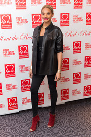 Alesha Dixon injected the requisite red via a pair of peep-toe ankle boots.