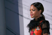 Naomie Harris opted for a low, center-parted ponytail when she attended the British Independent Film Awards.