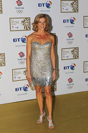 Sally Gunnell completed her ultra-glam look with bejeweled evening sandals.