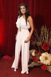 Shobna rocked a retro-inspired white wide-leg jumpsuit at the 2010 British Soap Awards in London.