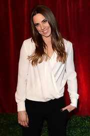 Mel C looked classic in a white faux-wrap blouse at the 2012 British Soap Awards.