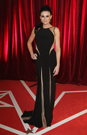 Lucy Pargeter oozed modern sophistication at the British Soap Awards in a sleeveless black evening dress with nude panels.