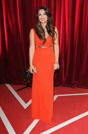 Georgia May Foote chose a simple yet classy deep orange evening dress for the British Soap Awards.