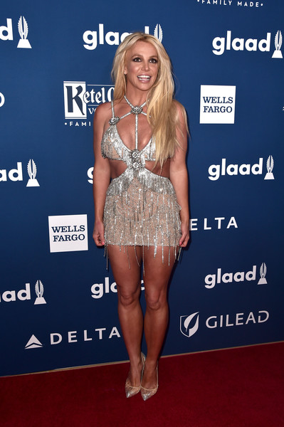 Britney Spears Evening Pumps [clothing,carpet,dress,fashion,cocktail dress,red carpet,blond,premiere,footwear,leg,arrivals,britney spears,glaad media awards,honoree,beverly hills,california,the beverly hilton hotel]