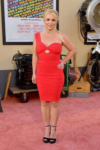 Britney Spears Platform Sandals [once upon a time...in hollywood,dress,clothing,shoulder,cocktail dress,red,carpet,pink,lady,hairstyle,red carpet,arrivals,britney spears,los angeles,hollywood,california,sony pictures,los angeles premiere]