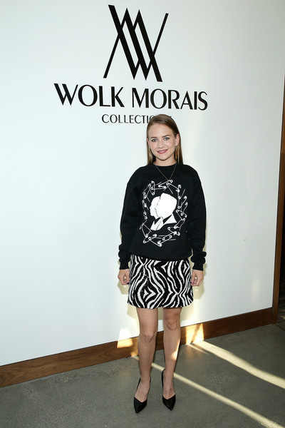 Britt Robertson Crewneck Sweater [white,clothing,shoulder,fashion,footwear,joint,t-shirt,leg,shoe,knee,west hollywood,california,the jeremy hotel,wolk morais collection 7 fashion show,arrivals,britt robertson]