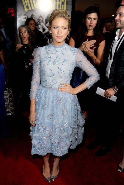 Brittany Snow Beaded Dress [pitch perfect,clothing,dress,fashion,premiere,fashion model,cocktail dress,hairstyle,event,flooring,carpet,brittany snow,arclight cinemas,california,hollywood,universal pictures,gold circle films,red carpet,premiere,premiere]
