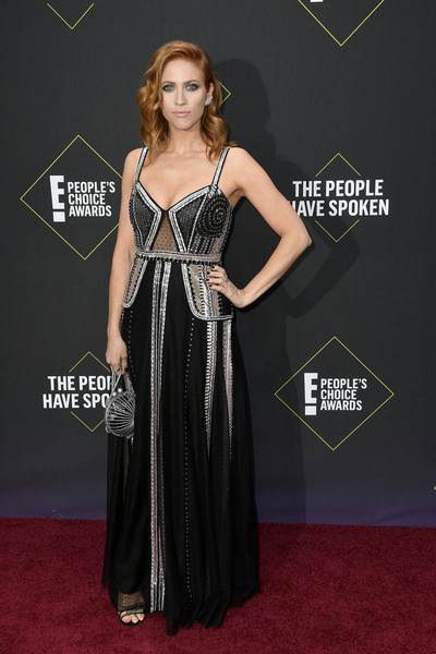 Brittany Snow Beaded Dress [clothing,carpet,red carpet,dress,flooring,gown,fashion,a-line,premiere,shoulder,brittany snow,peoples choice awards,santa monica,california,barker hangar,e]