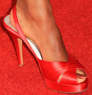 Regina King chose red satin platform peep-toes to complete her Critics' Choice Awards look.