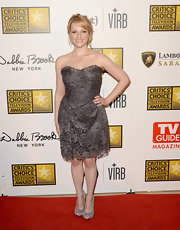 Melissa Rauch's gray lace cutout dress was a soft and romantic choice for Melissa Rauch at the Critics' Choice TV Awards.